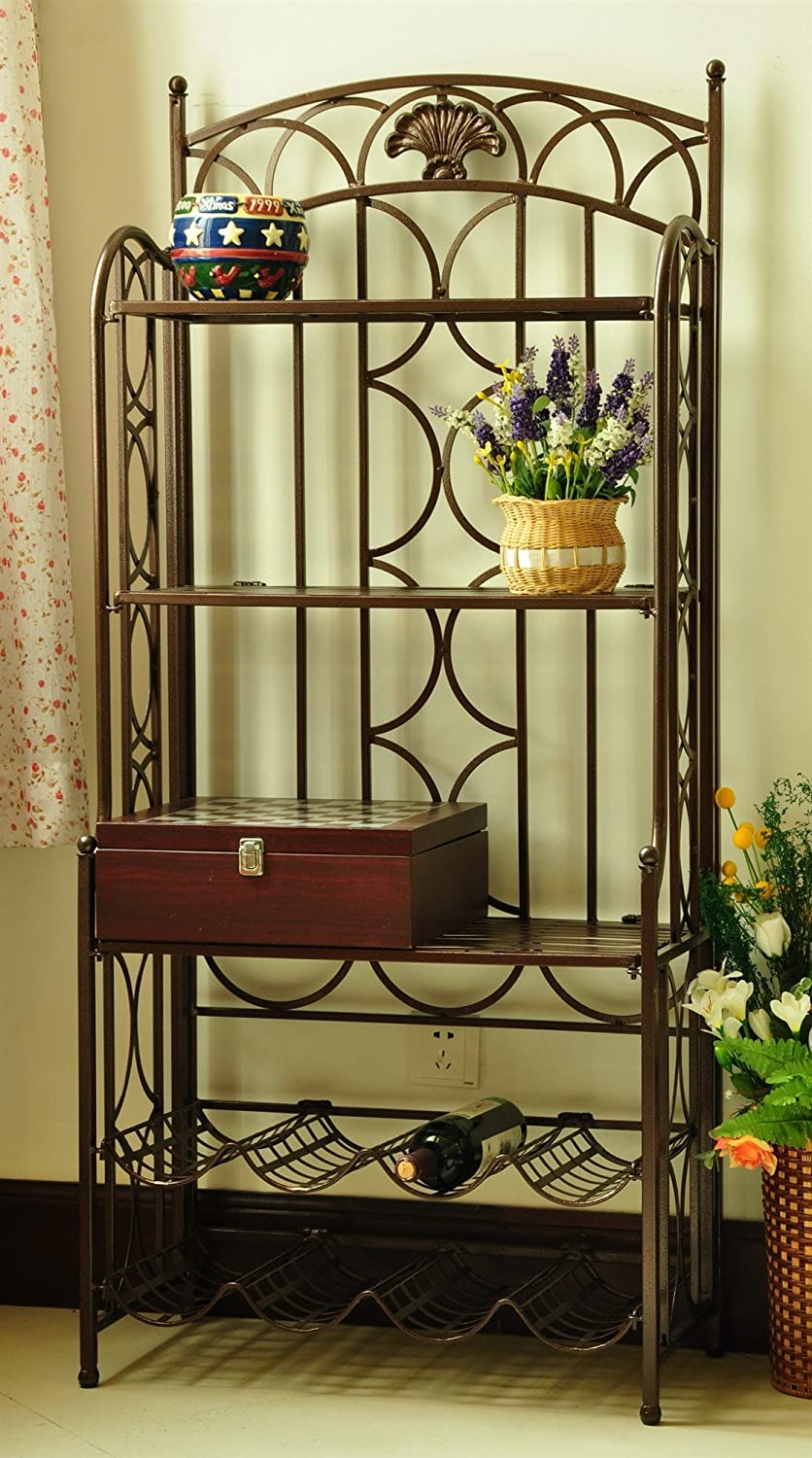 International Caravan 200393 5-Tier Iron Indoor Outdoor Bakers Rack, Brown