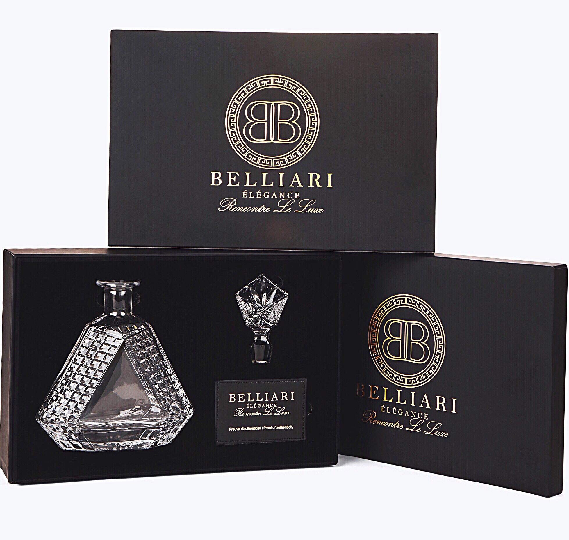 BELLIARI - Crystal Whiskey Decanter With Elegant Designer Gift Box - Diamond Whiskey Decanters - Fathers Day Gifts - 750ml Personalized Decanter For Liquor, Bourbon, Whisky, Scotch With Glass Stopper