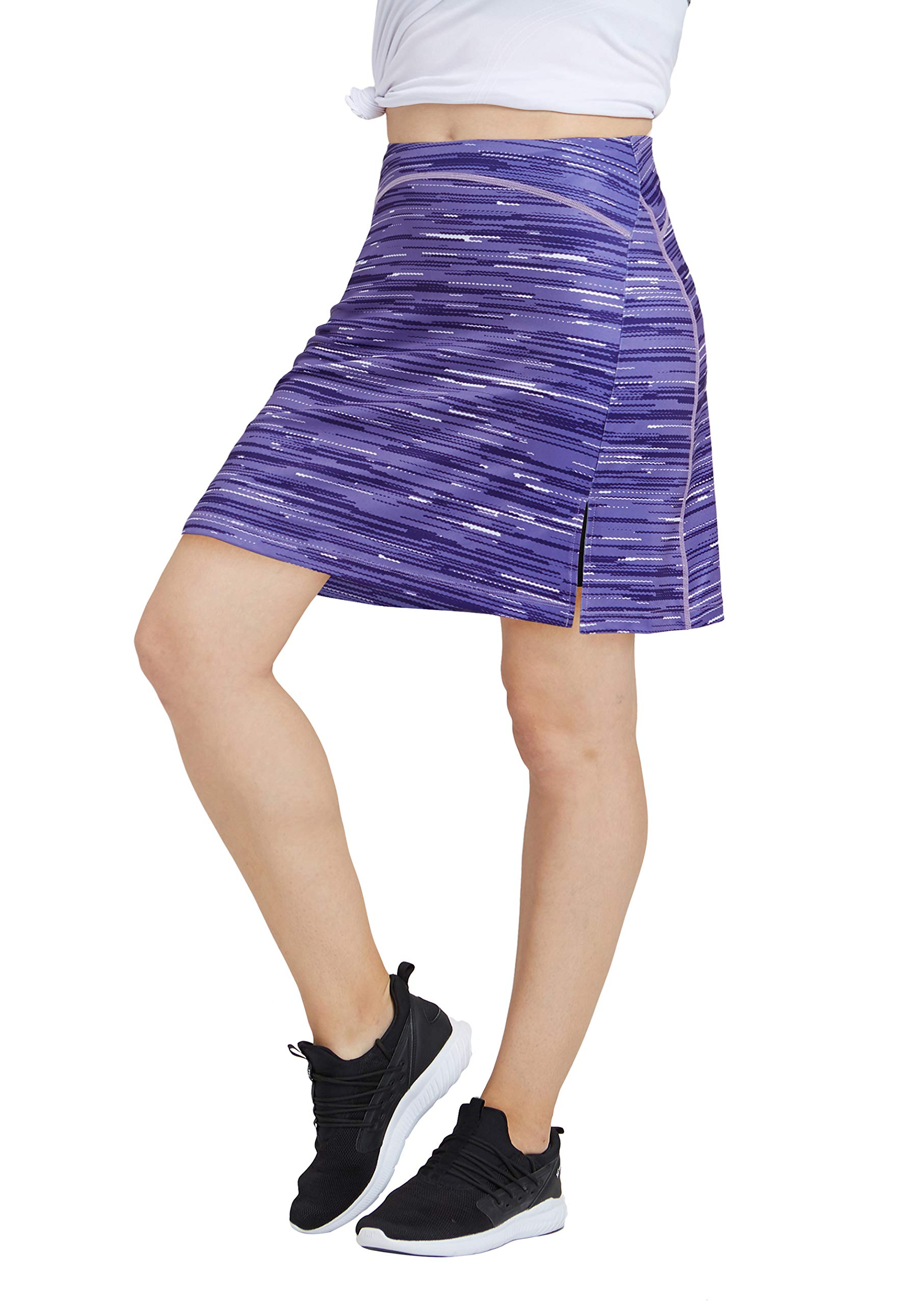 Women Print Golf Skirt Travel Skirts with Pockets Swim Skirt High Waist with Shorts Purple P M by slimour