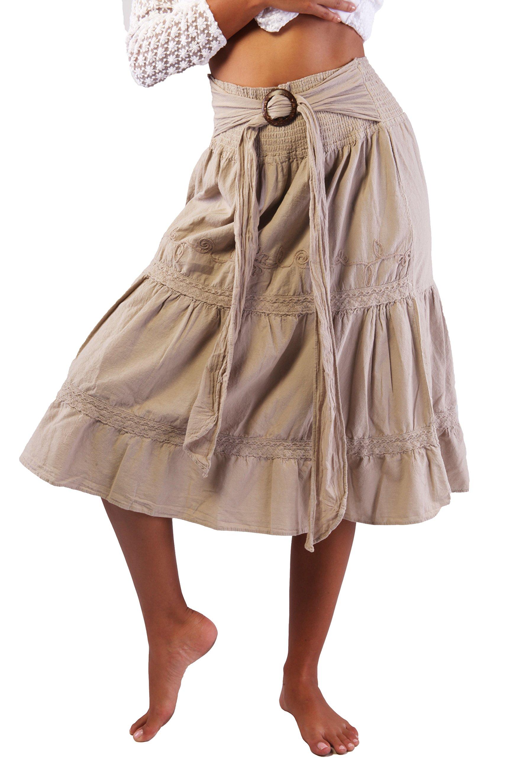 COTTON ORGANIC Women's Long Bohemian Hippie Skirt Boho White Tie Up Waist Summer Beach Wrap Maxi Skirt (Beige, Large)