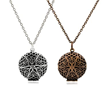 Amazon set of 2 aromatherapy essential oil diffuser necklace set of 2 aromatherapy essential oil diffuser necklace pendants and chainstique silver aloadofball Gallery