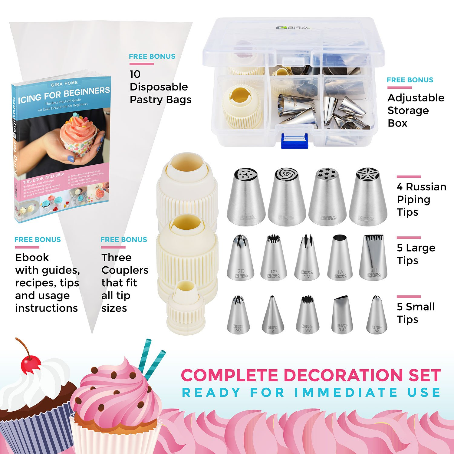 28-Pcs Premium Cake and Cupcake Decorating Kit+our Exclusive eBook Icing For Beginners, The practical guide to Cake Decorating, 14 Professional Piping Tips, 10 Pastry Bags, 3 Couplers and Storage Case