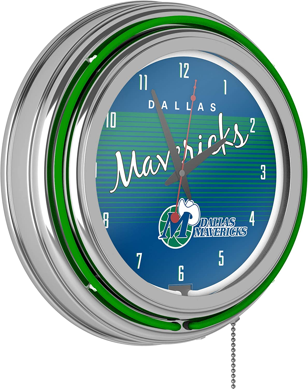 NBA Dallas Mavericksクロムネオンクロック、1サイズ、クロム