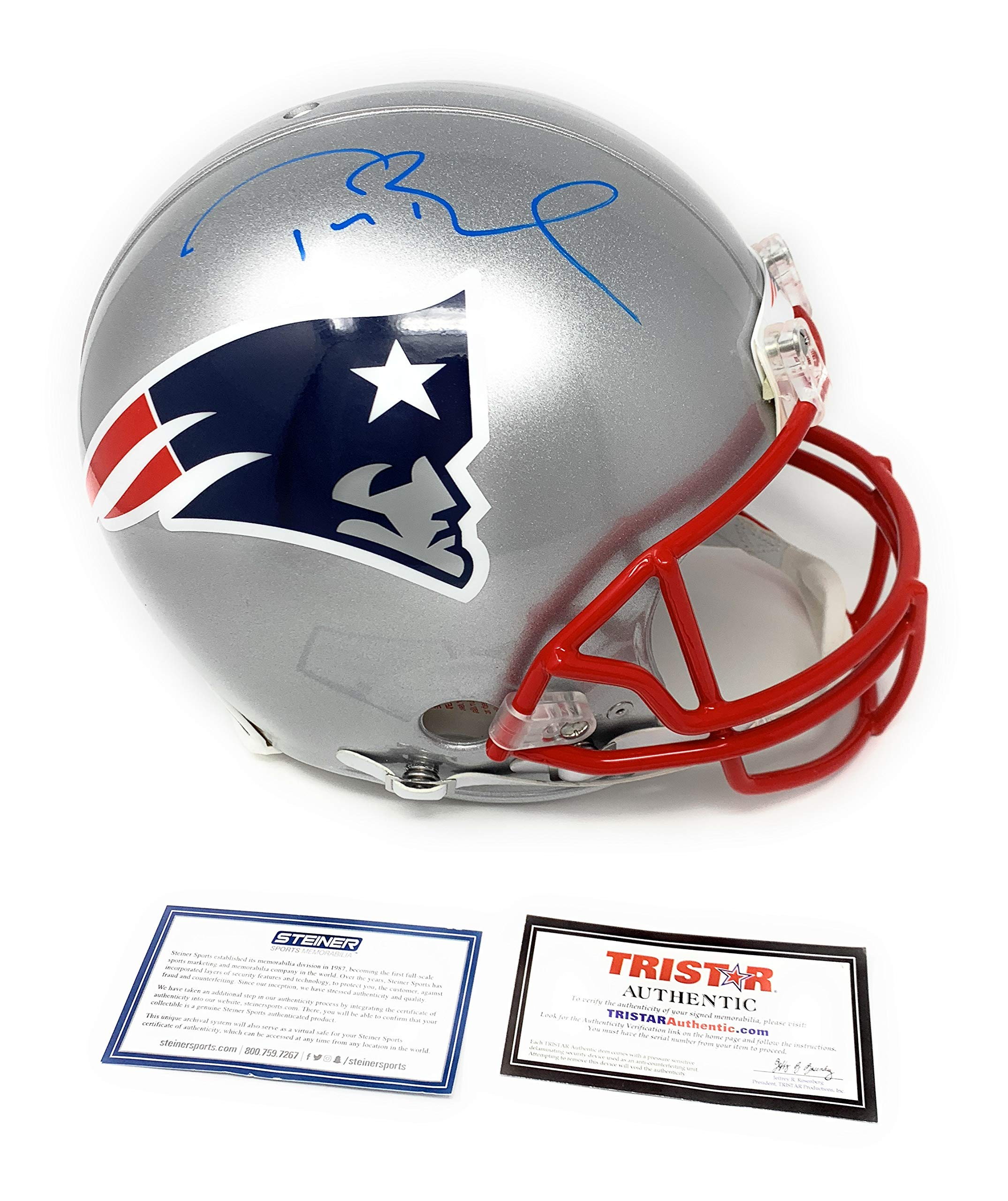Tom Brady New England Patirots Signed Autograph Full Size Proline Authentic Helmet LT Blue Ink 2 Tristar Authentic & Steiner Sports Certified