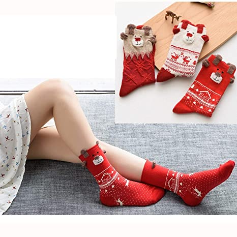 3 pieza Medias de Navidad calcetines algodón Tornillo para mujer Chica Calcetines para Navidad Regalo de