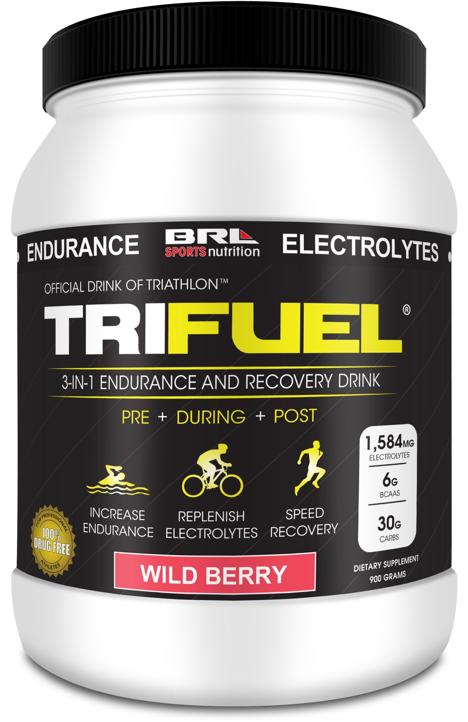TRIFUEL - 3-in-1 Endurance and Recovery, Hydration, BCAA, Electrolyte Enhanced Drink (Wild Berry) by TriFuel