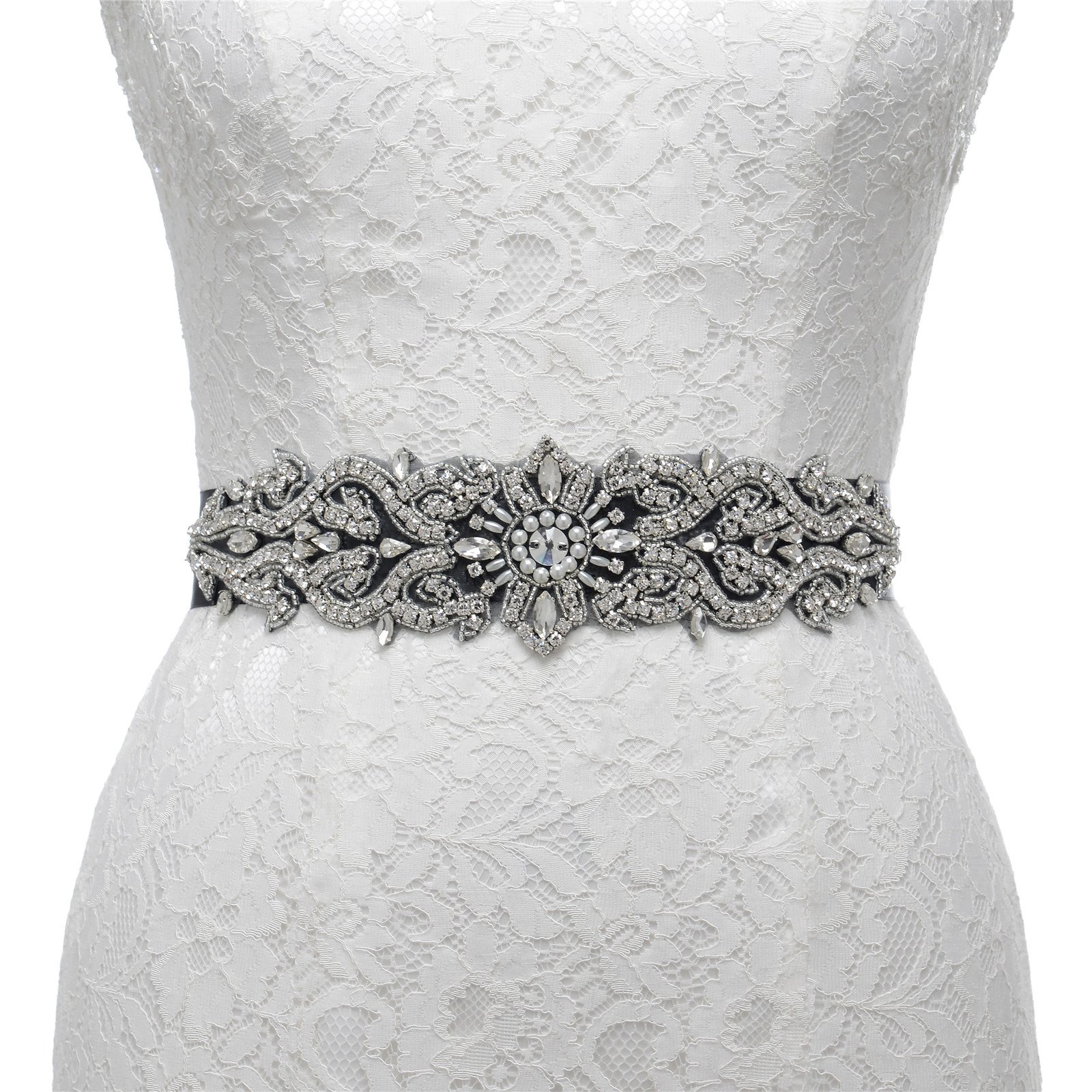 AW Bridal Sash Wedding Belt - Crystal Belt for Wedding Dress - Silver Women Belt for Prom Party Dress