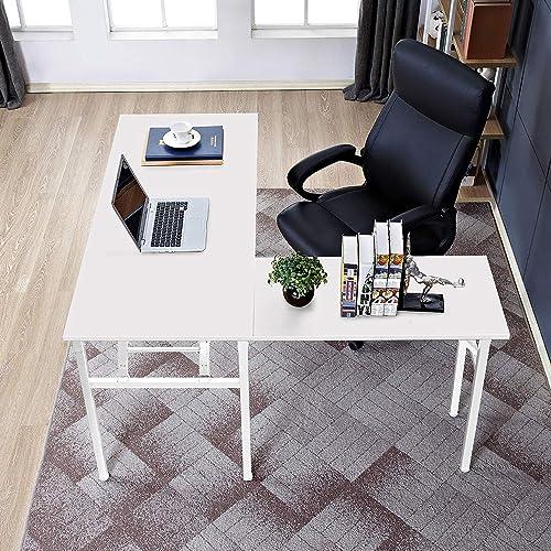 DlandHome L-Shaped Desk Large Corner Desk Folding Table Computer Desk Home Office Table Computer Workstation