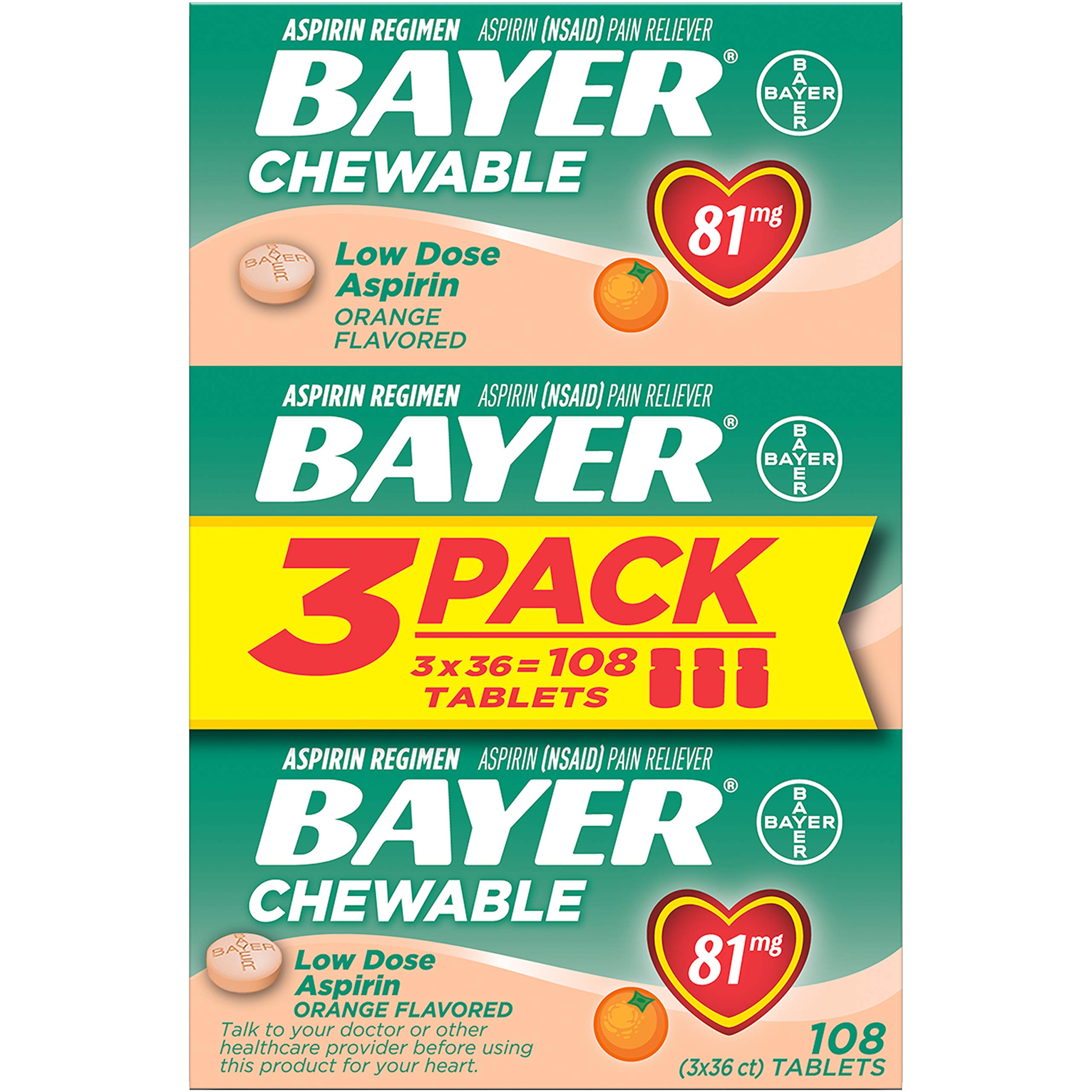 Aspirin Regimen Bayer 81mg Chewable Tablets | #1 Doctor Recommended Aspirin Brand | Pain Reliever | Orange Flavor | 108 Count (36 Count (Pack of 3))