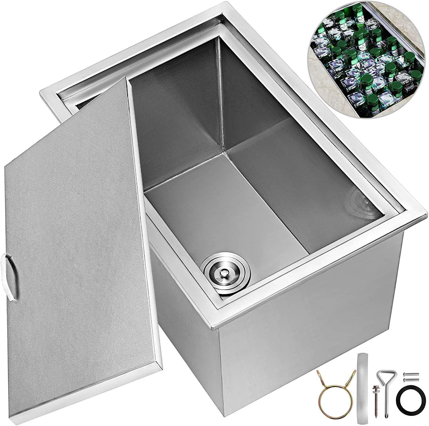 Happybuy Drop in Ice Chest 22x17x12 Inch with Cover 304 Stainless Steel Drop in Cooler Included Drain-pipe and Drain Plug Drop in Ice Bin for Cold Wine Beer