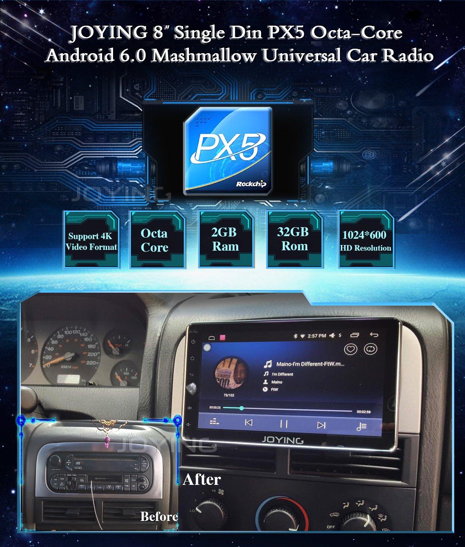JOYING Car Radio 8 inch PX5 Octa-Core 2GB RAM 32GB ROM Single Din Universal  Car head unit Android 6 0 MashMallow GPS Navigation Support Backup Camera