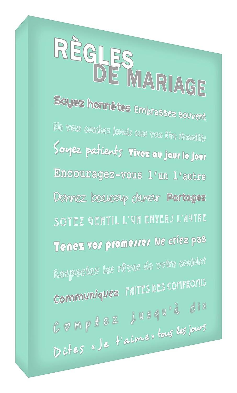 Feel Good Art Règles de Mariage Toile sur Cadre Vert Canard 30 X 20 cm MGR128-07FR