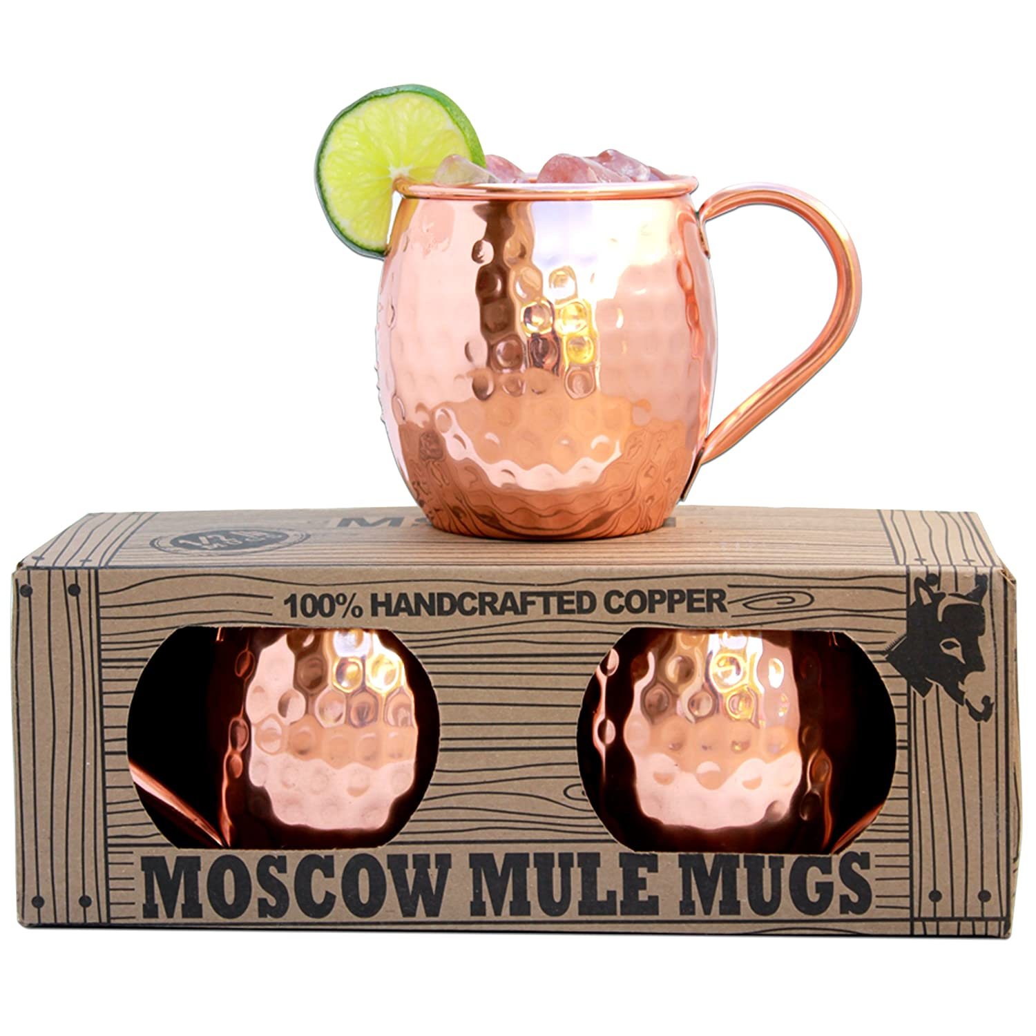 Morken Barware Moscow Mule Mugs - Set of 2 - Premium 1/2 Pound Mugs - 100% Solid Copper - Hammered Finish - 16oz NA