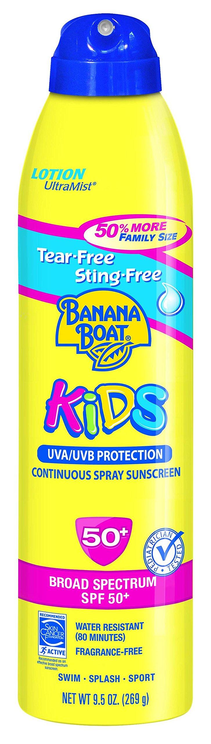 Banana Boat Sunscreen Ultra Mist Kids Tear-Free Sting-Free Broad Spectrum Sun Care Sunscreen Lotion - SPF 50, 9.5 Ounce