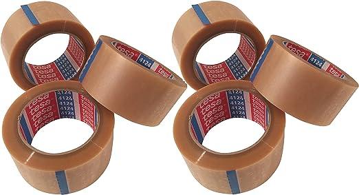 De 6 Pack tesa 4124 Pack banda Tesapack cinta adhesiva, 50 mm x 66 m, transparente: Amazon.es: Jardín