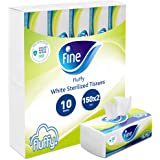 Fine, Sterilized Facial Tissues, Fluffy, 150X2 Ply White Tissues, pack of 10 boxes