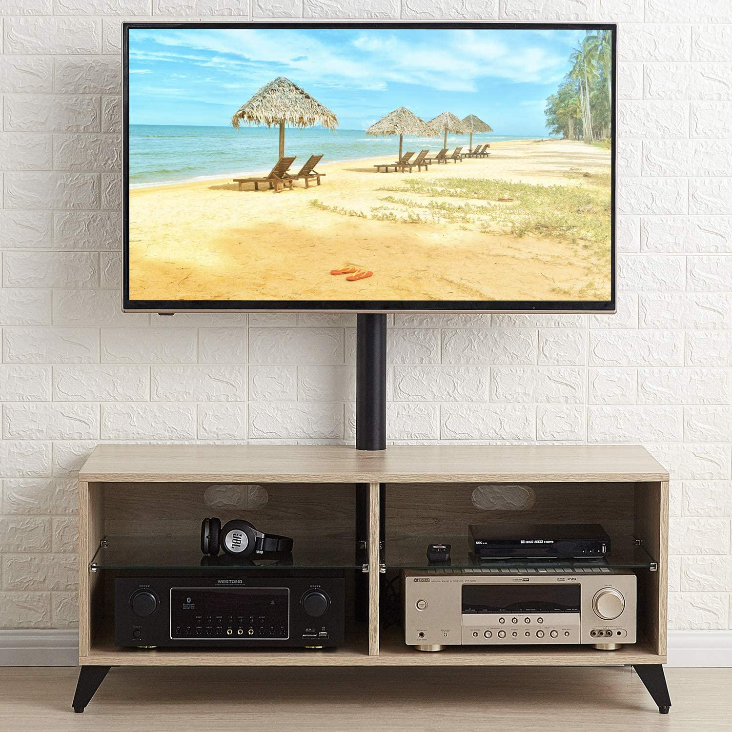 vidaXL Solid Pine Wood Corner TV Cabinet with 2 Drawers and Open Compartment Entertainment TV Unit Stand Drawer Cabinet Stereo Cabinet Grey
