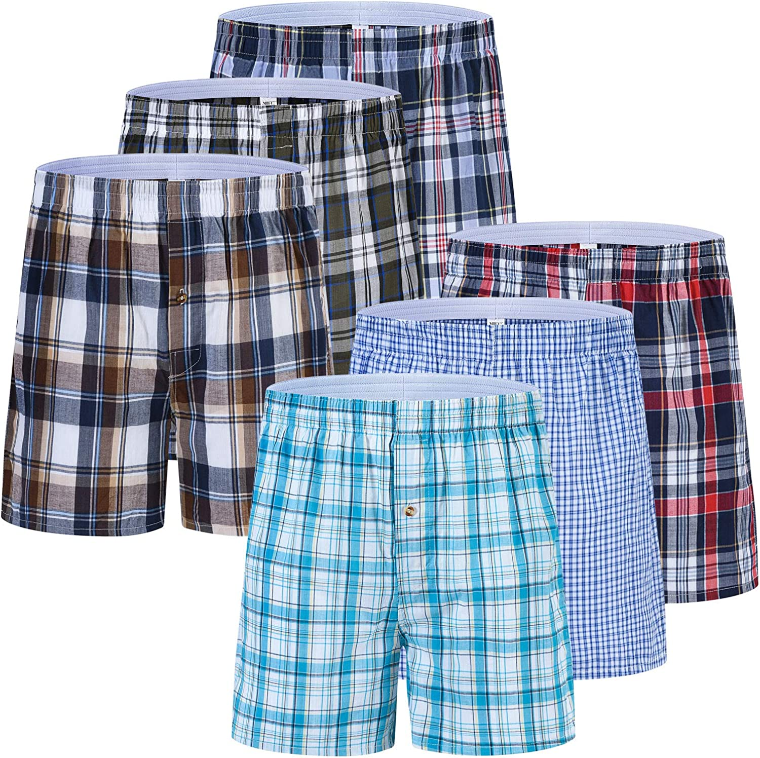 Mens Boxer Shorts Underwear Sleepwear 100% Cotton Plaid Tartan Open Fly Woven Classic Wear 3-Pack 6-Pack