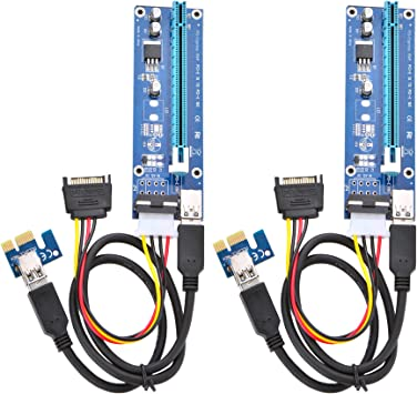 GPU Riser Adapter 2-Pack PCIe 6-Pin PCI-E 16x to 1x Powered Riser Adapter Card w// 60cm USB 3.0 Extension Cable /& 6-Pin PCI-E to SATA Power Cable Ethereum Mining ETH