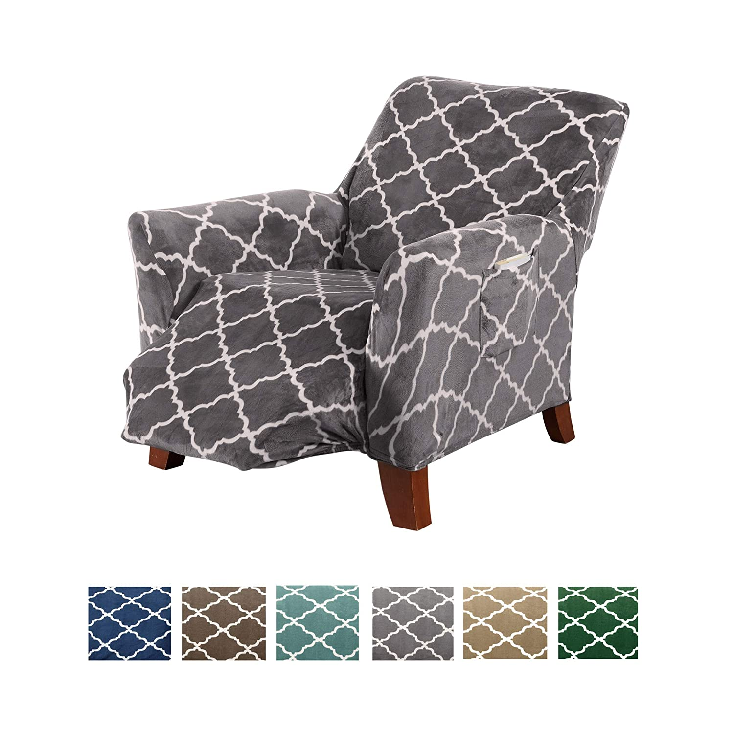 Wondrous Modern Velvet Plush Recliner Slipcover Strapless One Piece Stretch Recliner Cover Recliner Cover For Living Room Magnolia Collection Slipcover Theyellowbook Wood Chair Design Ideas Theyellowbookinfo