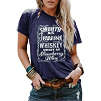 LANMERTREE Country Music Cute Funny Graphic T Shirt Tops for Women Friend Tennessee Whiskey Strawberry Wine Tee Shirt…