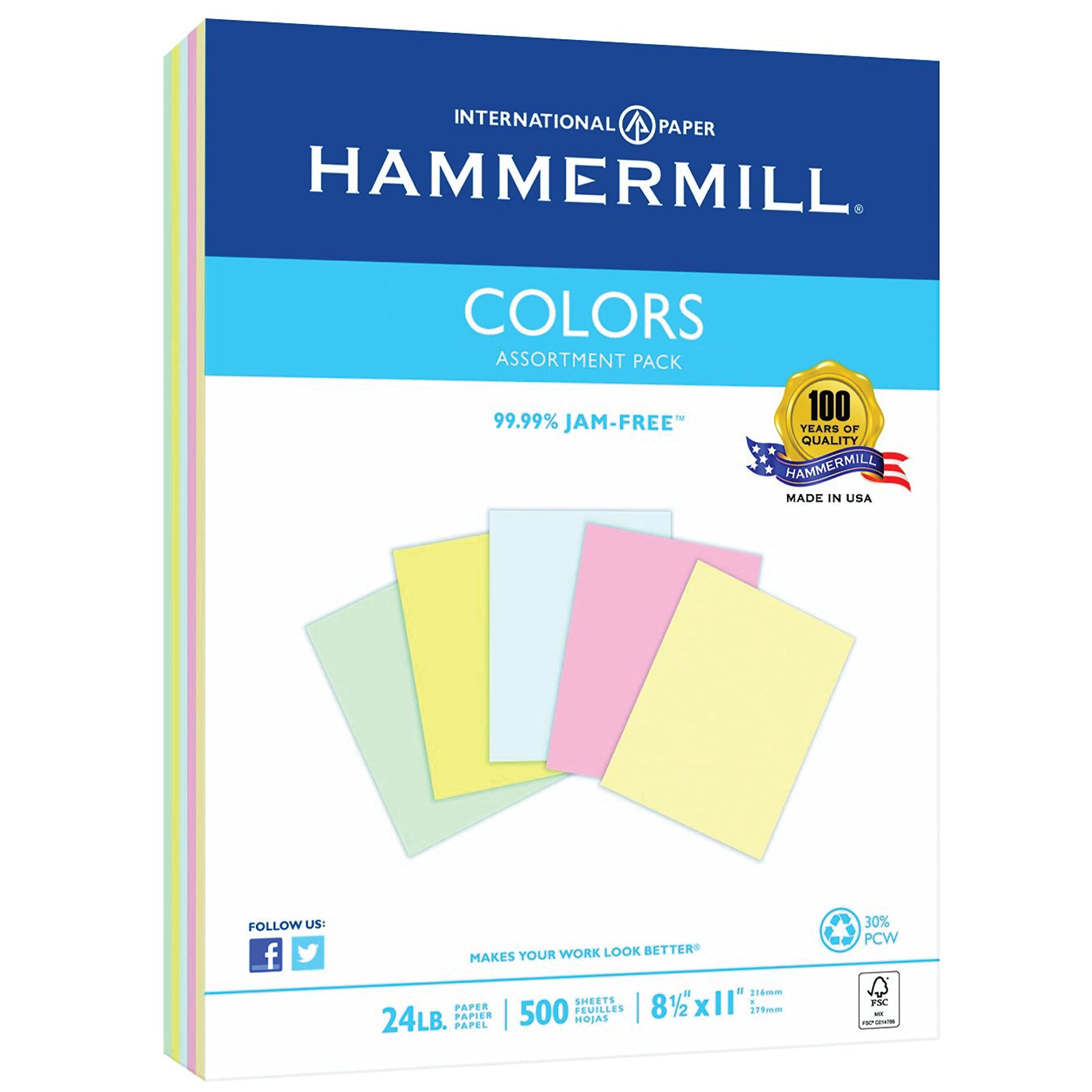 Hammermill Colored Paper, Assorted Printer Paper, Blue, Canary, Pink, Green, Ivory, 24lb, 8.5x11 Paper, Letter Size, 500 Sheets/1 Ream, Pastel Paper, Colorful Paper (102640R)