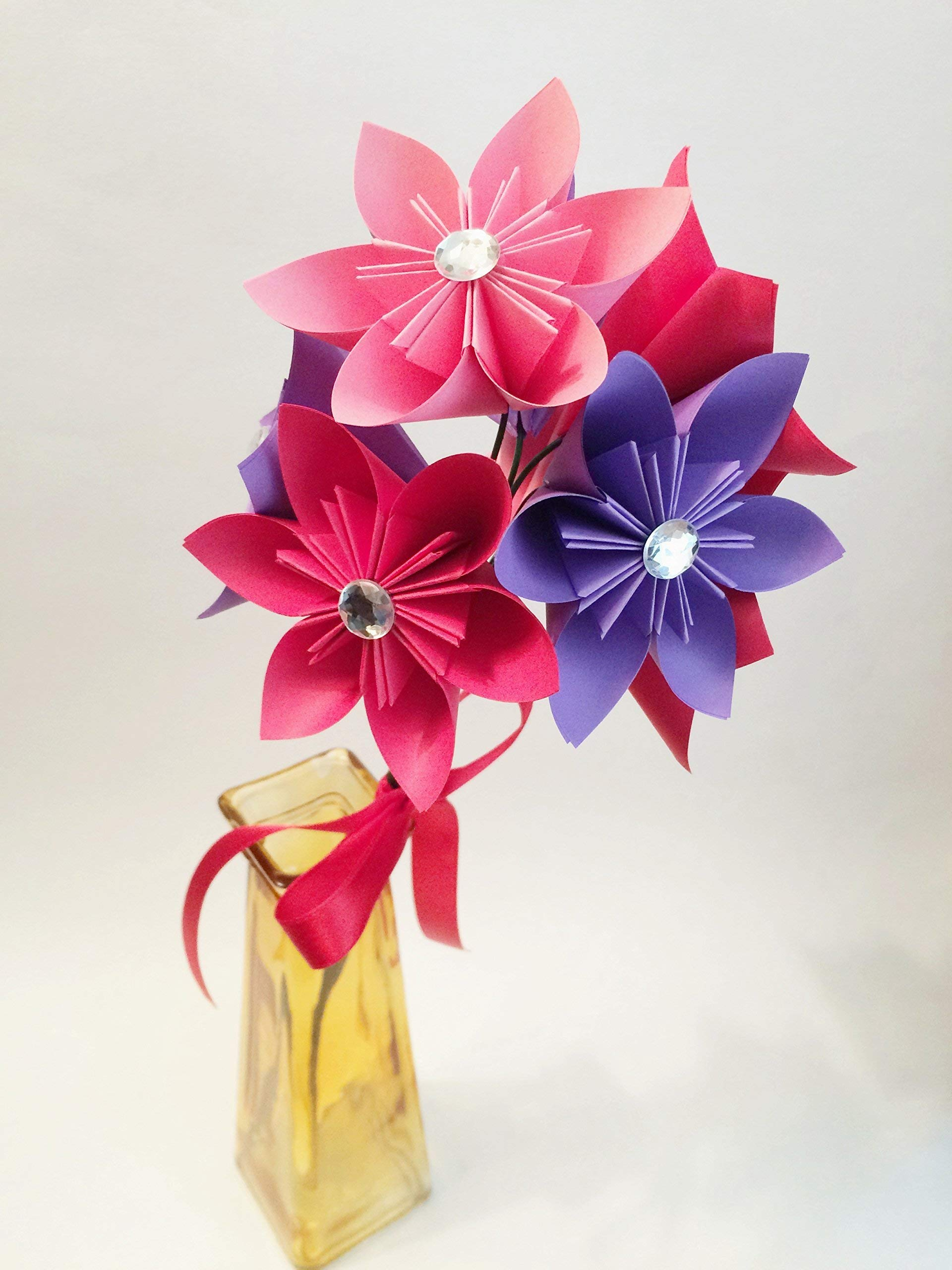 Set of 8 Bright Paper Flowers- Small bouquet of daisies, handmade anniversary gift, origami, red, purple pink, spring wedding, baby shower, party decor
