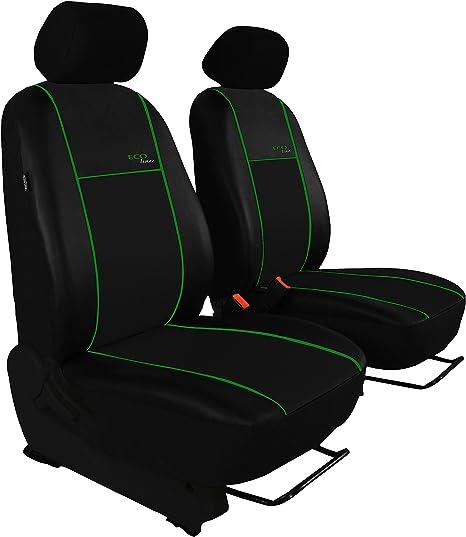 Für VW T6 Transporter paßgenaue Sitzbezüge Kunstleder diagonal gesteppt schwarz.