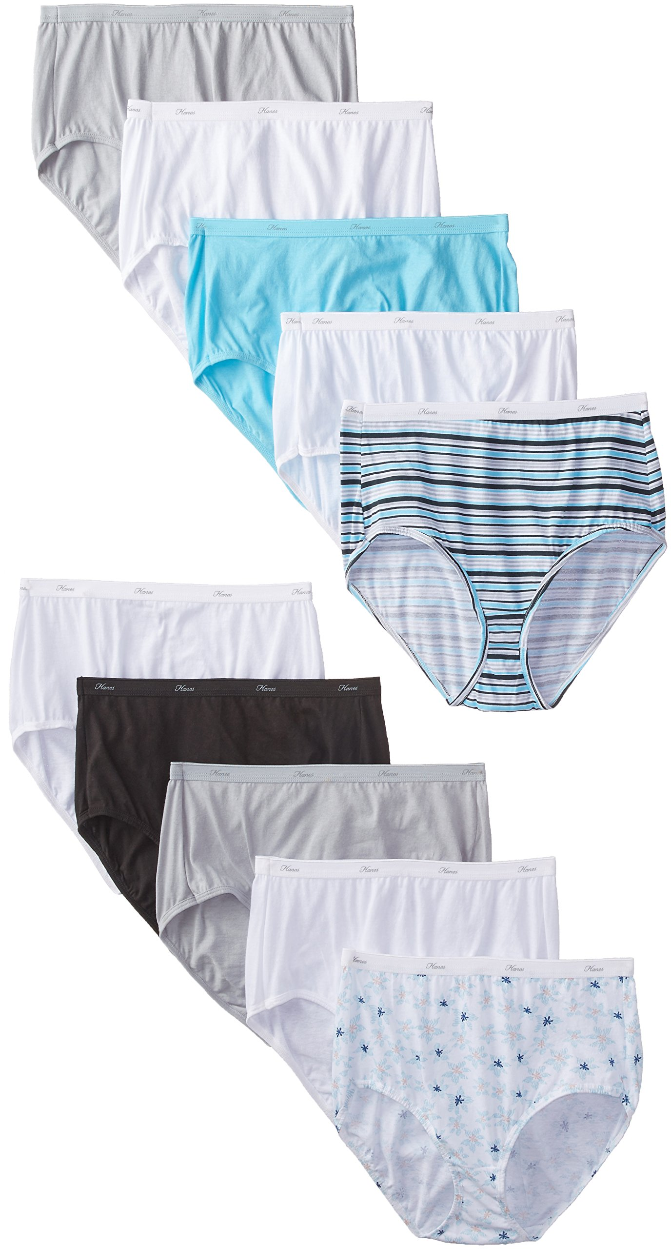 Hanes Women's 10 Pack Cotton Brief Panty, Assorted, Size 10