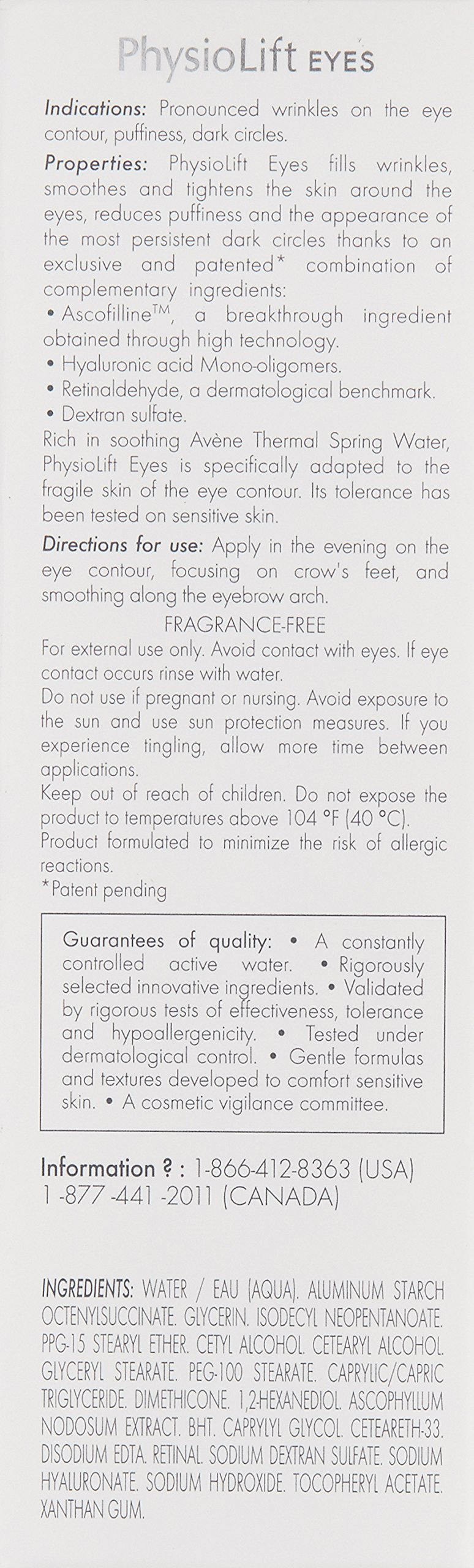 Eau Thermale Avène Physiolift Eyes Wrinkles, Puffiness, Dark Circles Cream, 0.5 fl. oz. by Eau Thermale Avène (Image #8)