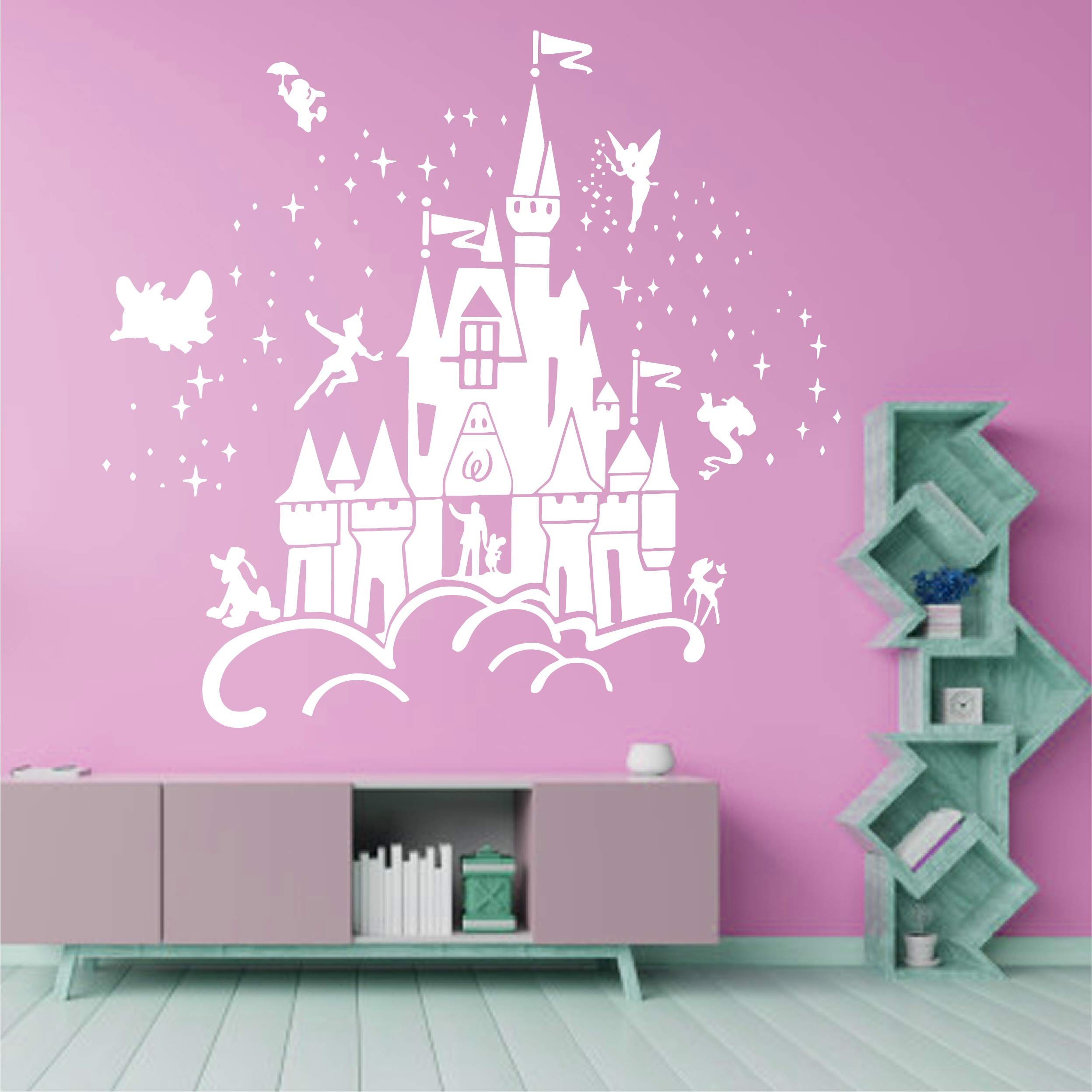 Best Design Amazing Decals Floating Disney Fairy Castle Wall Sticker Vinyl Decal Wall Art for Nurseries Size is 36''x34'' McBcK001 by Best Design Amazing