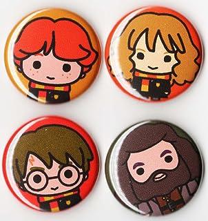 Harry Potter Button Set X4 Pin Back 1 Inch Chibi Artwork
