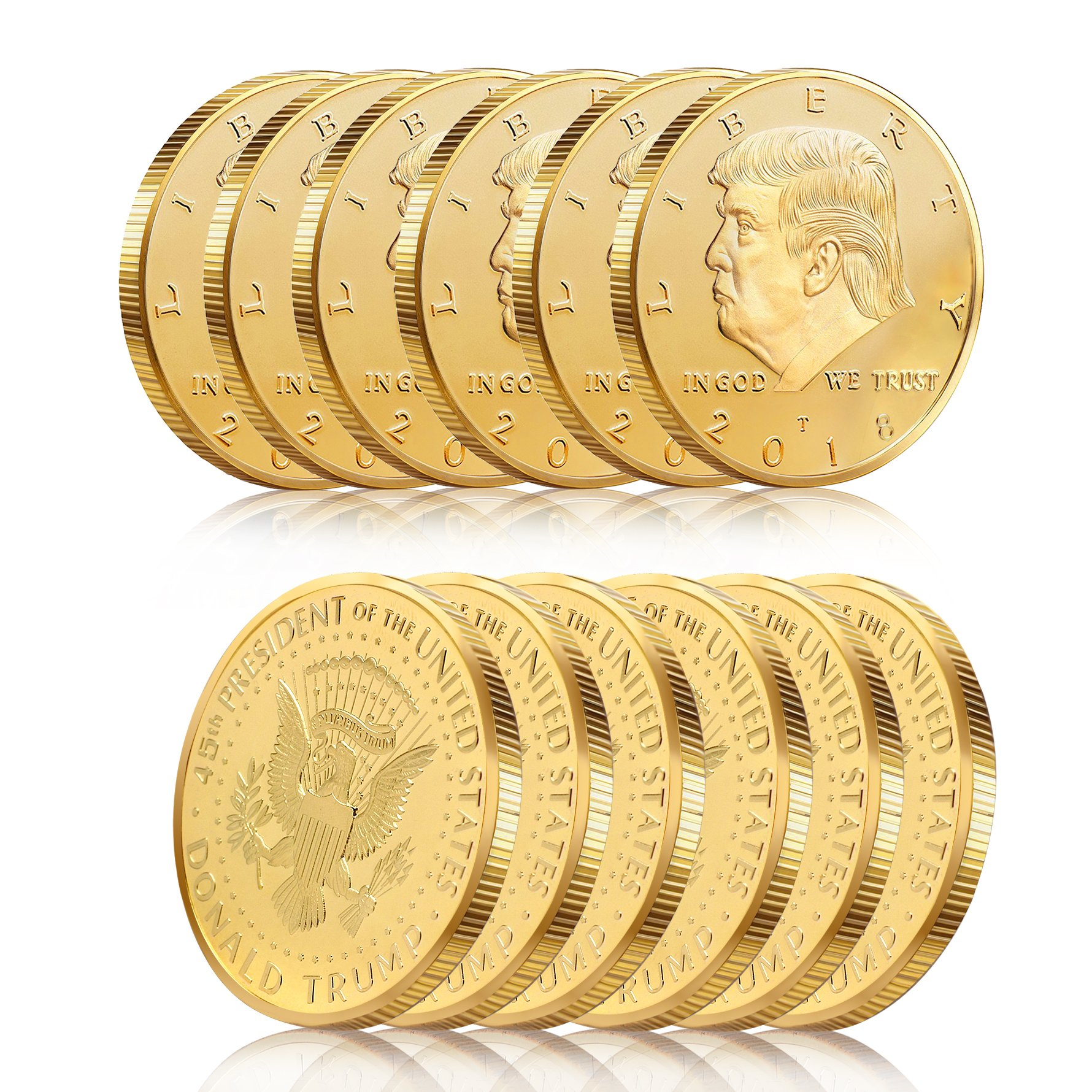 Batterymart 12Pack-Donald Trump Gold Coin 2018 24kt Gold Plated 45th President The United States Original Design