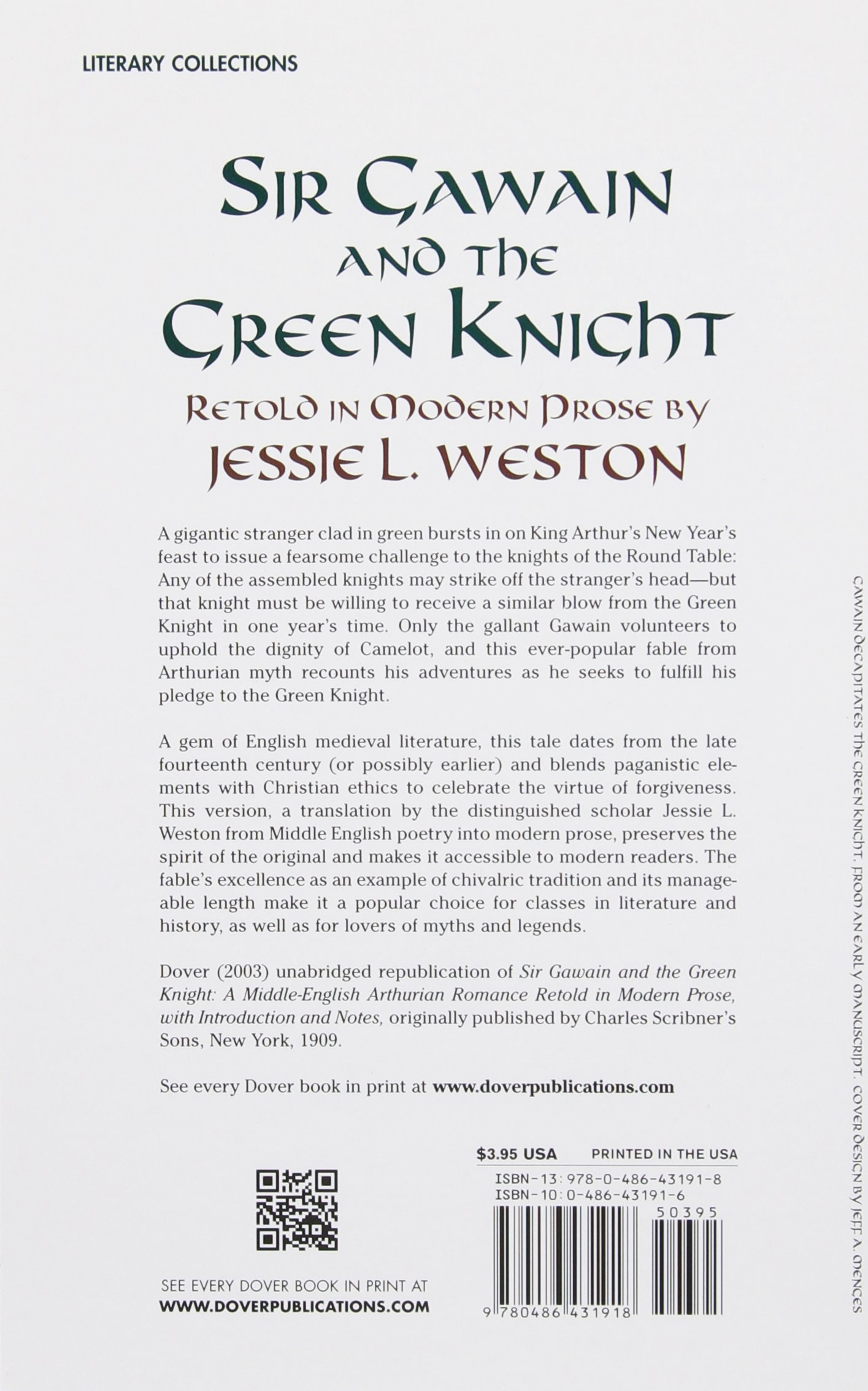 sir gawain and the green knight dover books on literature drama sir gawain and the green knight dover books on literature drama jessie l weston 9780486431918 com books