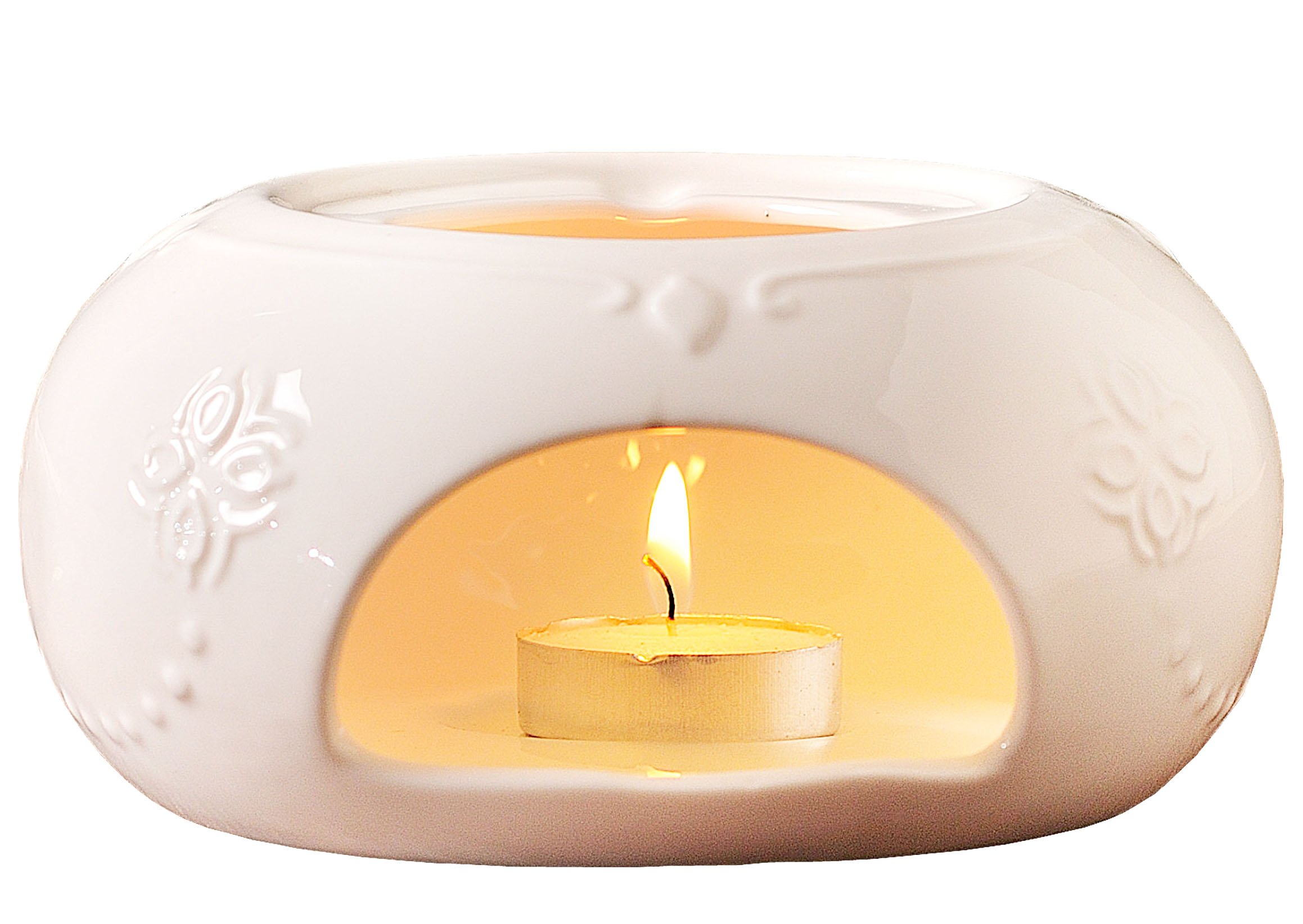 Jusalpha Elegant Embossed White Ceramic Teapot Warmer 01