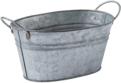 Galvanized Oval Bucket Container Rustic Wedding And Home Decor Toys Games