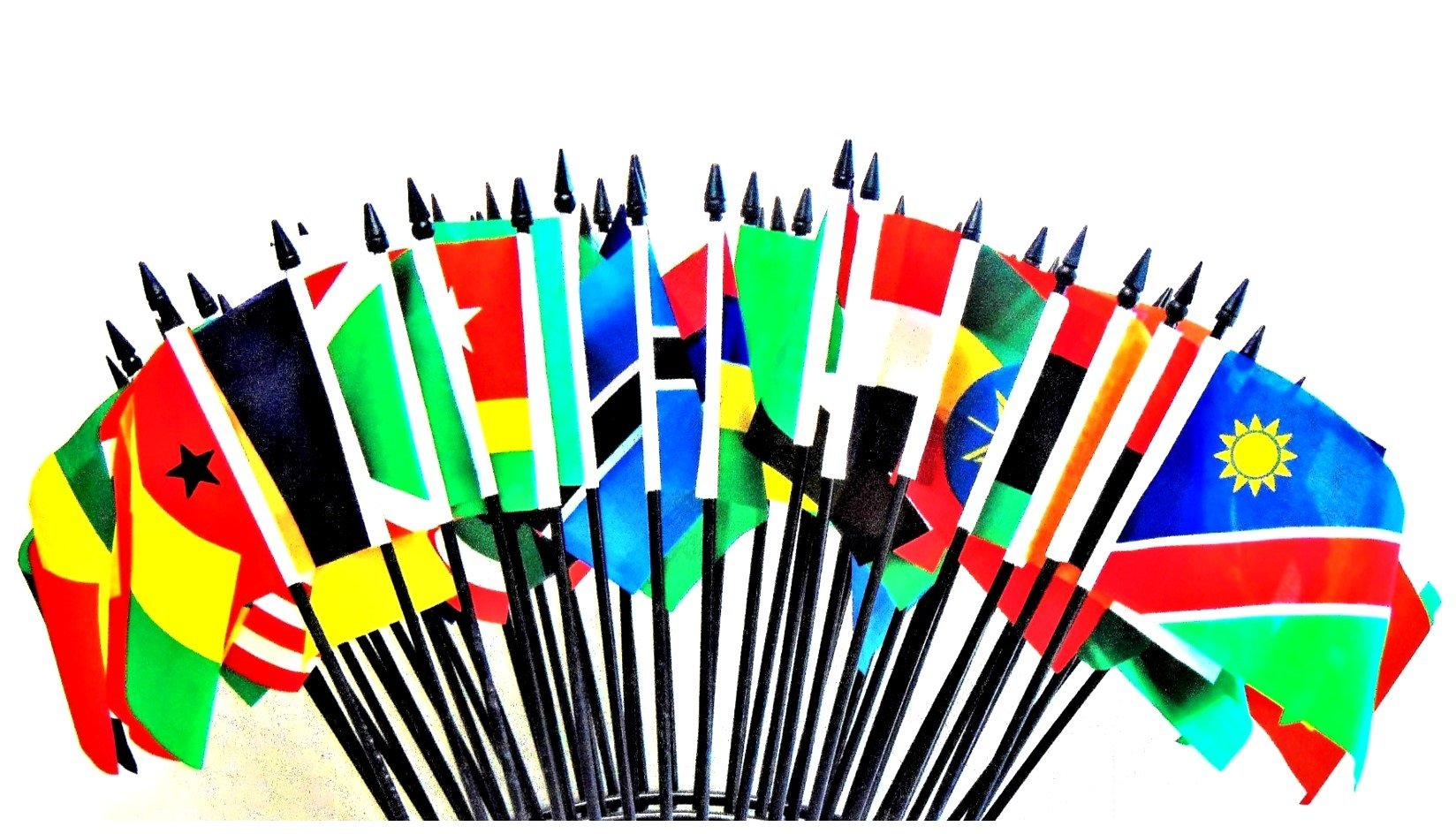 African Union World Flag SET-52 Polyester 4''x6'' Flags, One Flag for Each Country in The African Union, 4x6 Miniature Desk & Table Flags, Small Mini Stick Flags