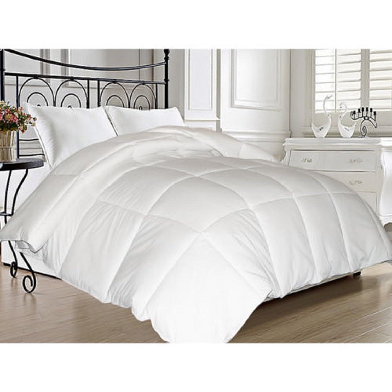 amazoncom microfiber reversible comforter feather blend goose down plush bedspread blanket queen home u0026 kitchen