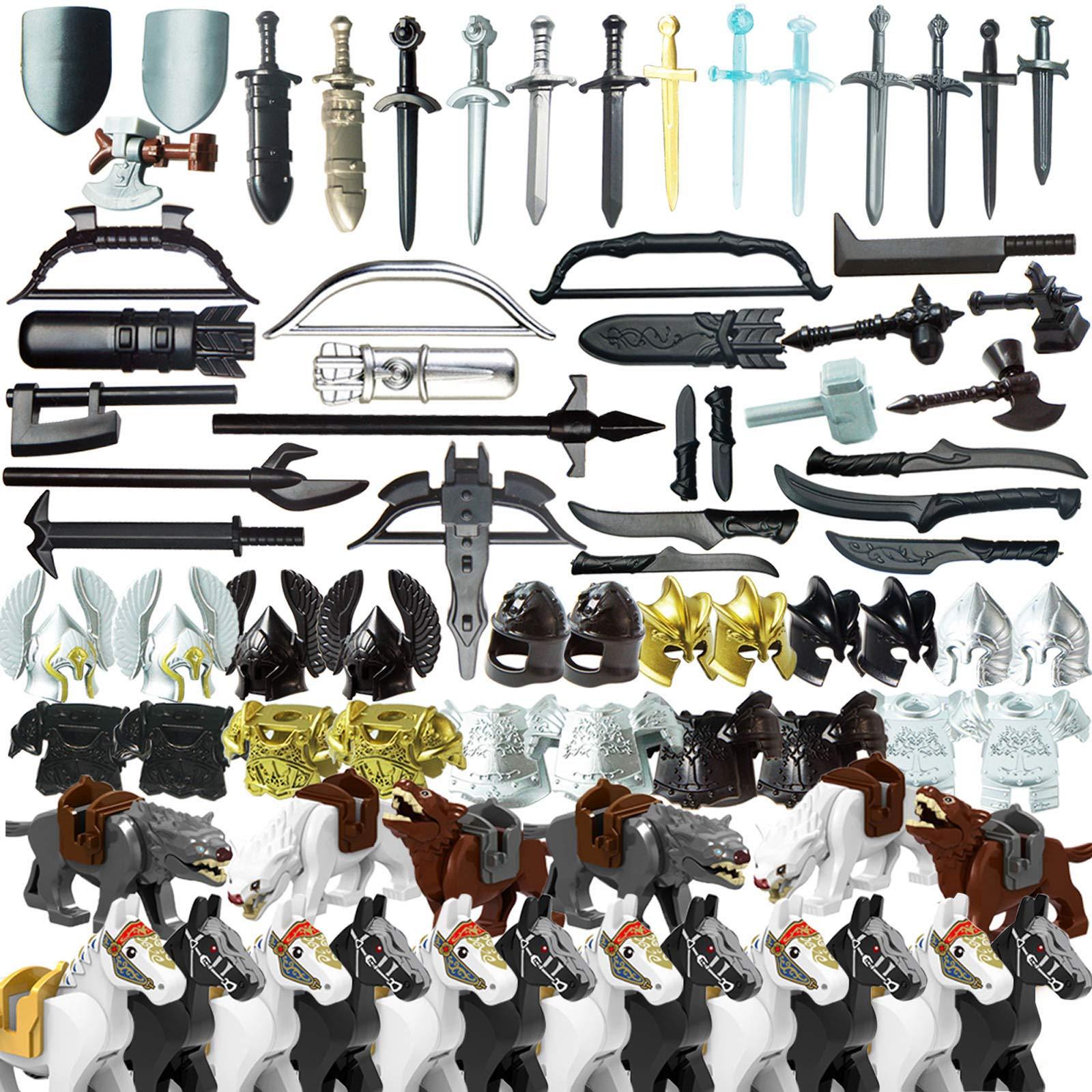 Goshfun 80Pcs Ancient Greek Ancient Roman Medieval Figure Weapon Armor Set, Small Particle Building Block Toy Kit
