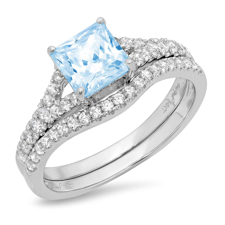 Kingray Jewelry Black Blue Princess Cut Wedding Engagement Propose Anniversary Bride Ring Set