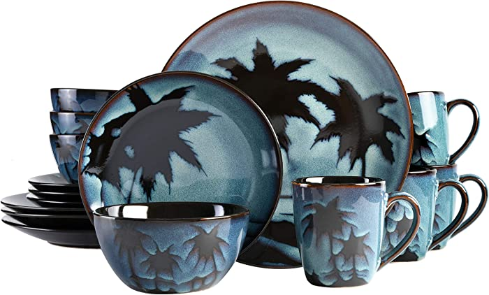 Gibson Elite Sunset Blue Round Reactive Glaze Stoneware Dinnerware Set, Service for Four (16pcs)