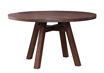 modus furniture 7z4861 portland solid wood round dining table walnut - Round Solid Wood Dining Table