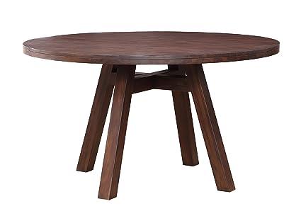 Modus Furniture 7Z4861 Portland Solid Wood Round Dining Table, Walnut