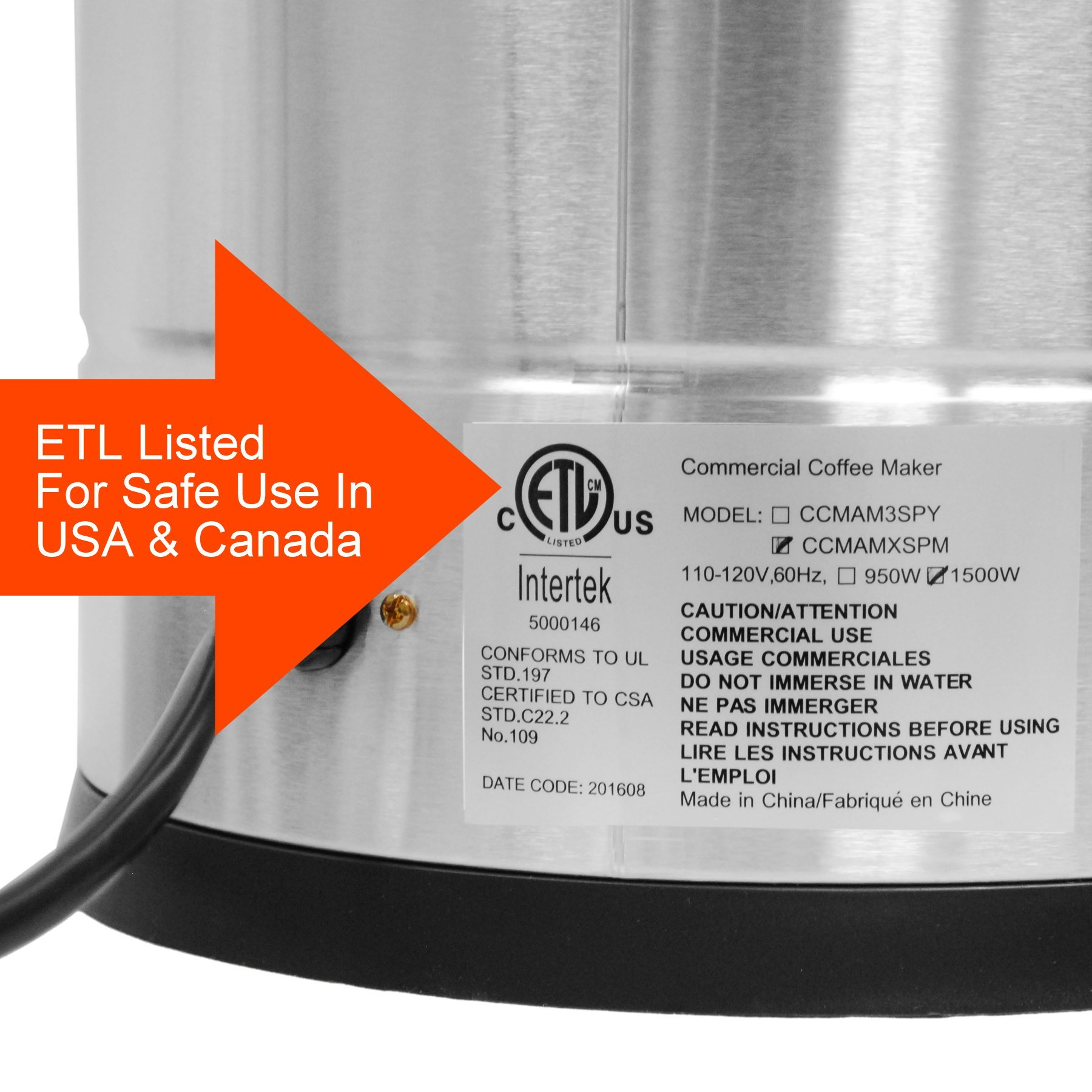 Cafe Amoroso 100 Cup Stainless Steel Coffee Urn - Premium Commercial Double Wall Design - Perfect For Catering, Churches, Banquets, Restaurants - 1 Year Warranty by Cafe Amoroso (Image #6)