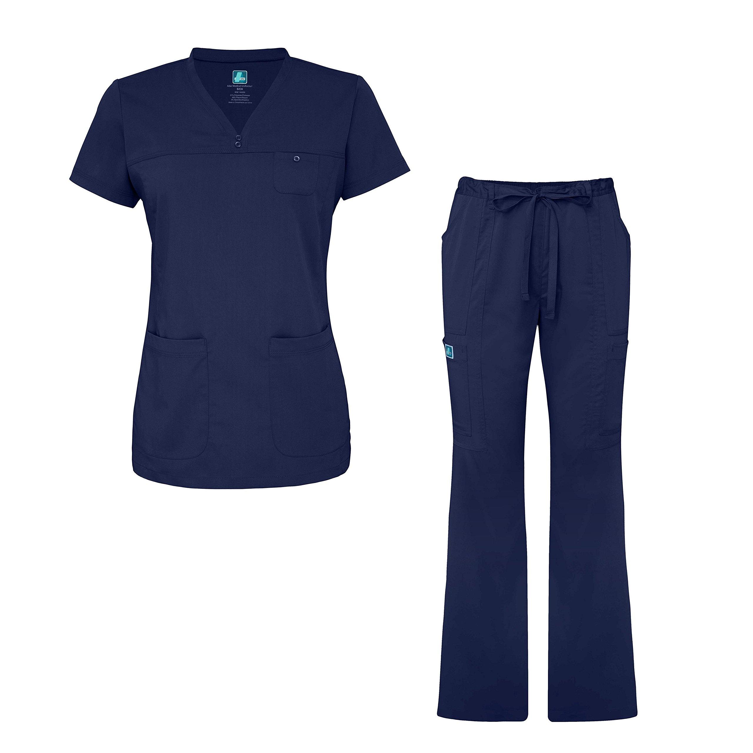 Adar Indulgence Jr. Fit Womens Scrub Set Curved V-Neck Medical Scrub Top and Scrub Pants - 4401 - Navy - S