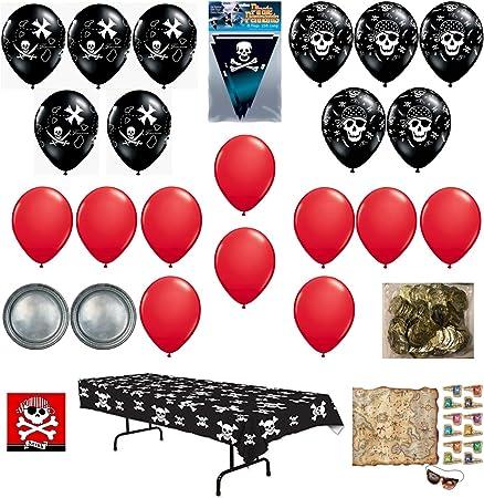 Decoraciones de fiesta de cumpleaños de pirata, platos, servilletas, mantel y juego de paquete, incluye 127 piezas: Amazon.es: Juguetes y juegos