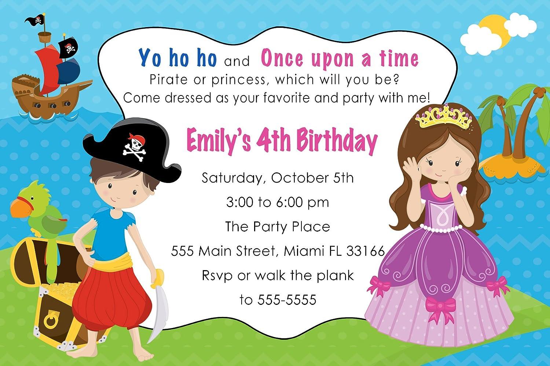 Amazon.com: 30 Invitations Pirate Princess Girl Boy Birthday Party ...