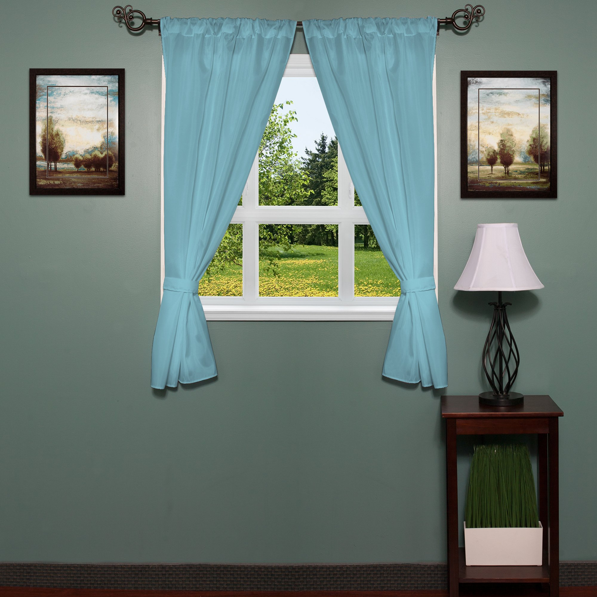 Sweet Home Collection Fabric Bathroom Window Curtain Hotel Quality Set of Two Durable 36'' x 54'' Panels with Pair of Tiebacks, Spa Blue