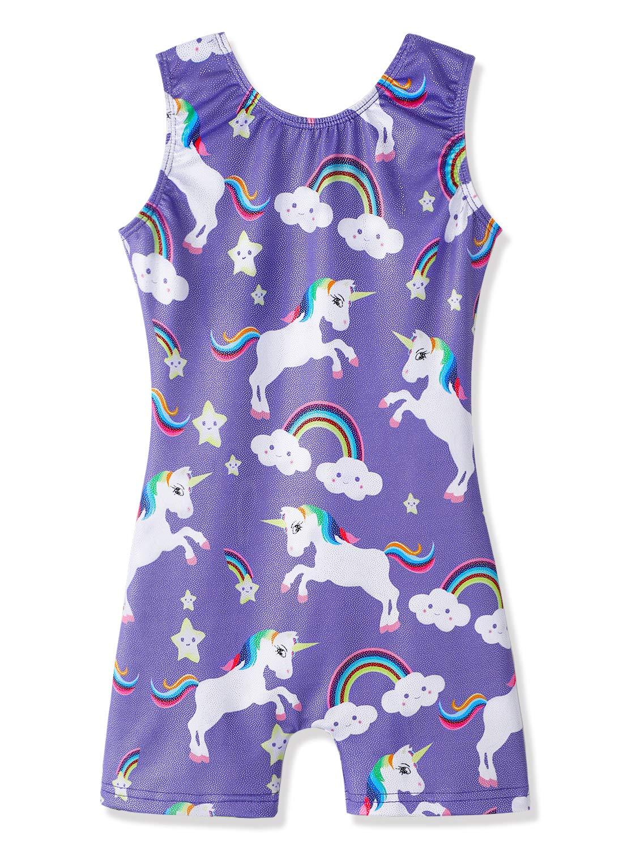 Purple Unicorn Leotards for Girls Gymnastics Biketards Unitard (Purple,5-6Years) by DAXIANG