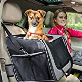 FURRY BUDDY Pet Booster Seat with Dog Seat Belt and Removable Plush Liner, Pet Carrier, Holds Small and Medium Dogs up to 20 lbs, Grey